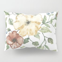 The Eliza // Warm Florals and Berries Watercolor Pillow Sham