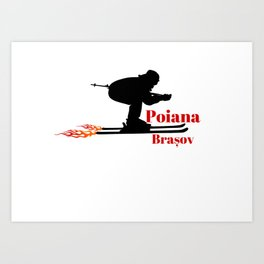 Ski speeding at Poiana Brașov (Poiana Brasov) Art Print