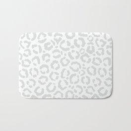 Elegant White Gray Leopard Cheetah Animal Print Bath Mat