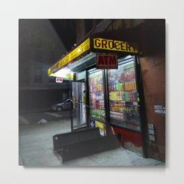 Old school bodega at night (2018) from Roberta Winters Photography Metal Print
