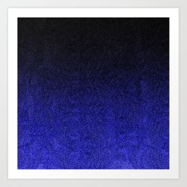 Blue & Black Glitter Gradient Art Print
