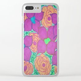 Bold Summer Flowers Clear iPhone Case