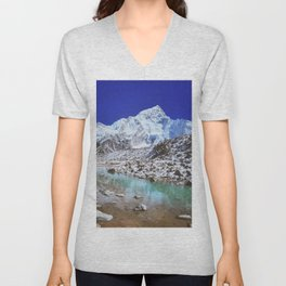 Mount Nuptse view and Mountain landscape view in Sagarmatha National Park, Nepal Himalaya. Unisex V-Neck