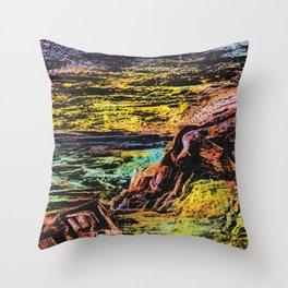 sunset on rocky beach mixed media colorful print Throw Pillow