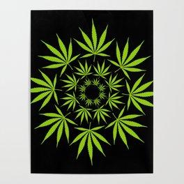 Cannabis Leaf Circle (Black) Poster