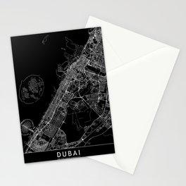 Dubai Black Map Stationery Cards