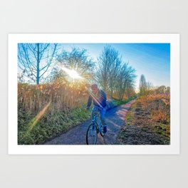 Countryside Cycling Art Print