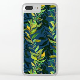 Blue and Green Seaweed Pattern Clear iPhone Case