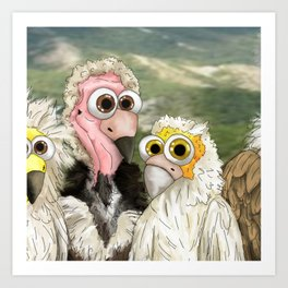 series: Old World Vultures - Necrosyrtes monachus and Gypohierax angolensis Art Print