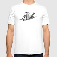 'Black Dog' (Sketch) MEDIUM Mens Fitted Tee White
