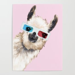 Sneaky Llama with 3D Glasses in Pink Poster