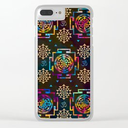 Sri Yantra  pattern - color and gold #2 Clear iPhone Case