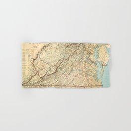 Vintage Map of Virginia (1863) Hand & Bath Towel