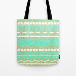 Modern gold turquoise teal ombre aztec pattern Tote Bag