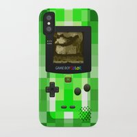 warcraft iPhone & iPod Cases featuring Gameboy Color Green Creeper by Veylow