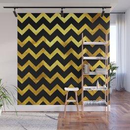 Black & Gold Chevron Wall Mural