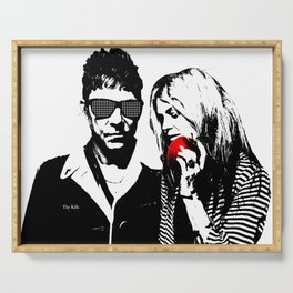 the Kills - Black and White with red Apple Serving Tray