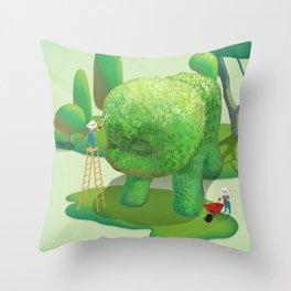 Topiary Dog Throw Pillow