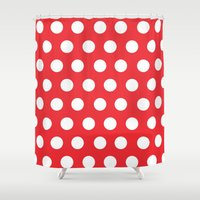 minnie mouse Shower Curtains featuring Minnie Mouse Dots | Red by DisPrints