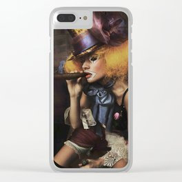 sad Girl clown with old dress smoke a cigar Clear iPhone Case
