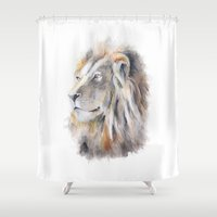 lion king Shower Curtains featuring Lion King by pablolabel
