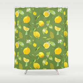 Watercolor Lemon & Leaves 5 Shower Curtain