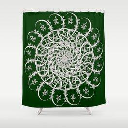Mandala #104, Deep Green and White Shower Curtain