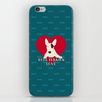 bull terrier iPhone & iPod Skins featuring Bull Terrier Love by ShaMiLa