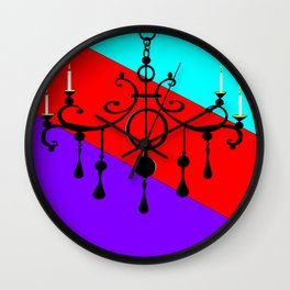 A Chandler with Candles and a Blue, red, purple Background Wall Clock