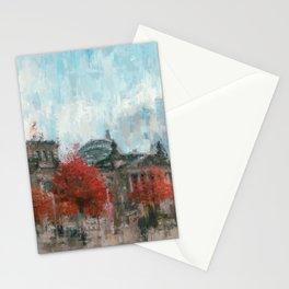 Bundestag, Reichstag Berlin Mitte -  impressionism style print Illustration  / abstract landmark Stationery Cards