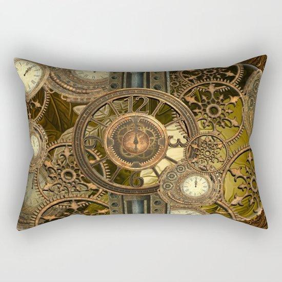 Steampunk, awesome clocks Rectangular Pillow