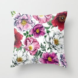 Where Wild Roses Grow Throw Pillow