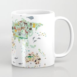 Cartoon animal world map for children, kids, Animals from all over the world, back to school, white Coffee Mug