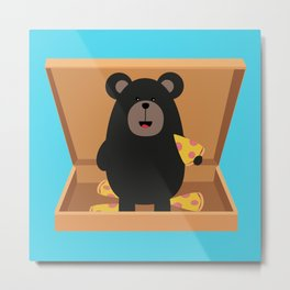 Grizzly in Pizzabox Metal Print