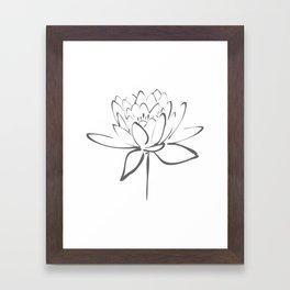 Lotus Blossom Calligraphy Smoke Grey Framed Art Print