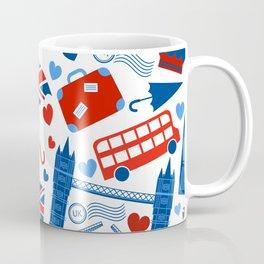 Fondo de patrón sin fisuras con hitos de Londres y símbolos de Gran Bretaña ilustración vectoria Coffee Mug