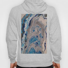 Abstract Painting - Blue and Silver Fluid Art - Organic Fluid Design Hoody