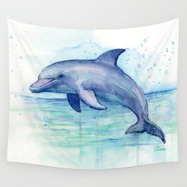 Dolphin Watercolor Sea Creature Animal Wall Tapestry
