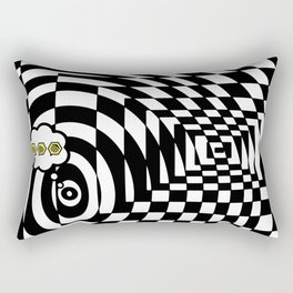 optical visual illusion thinking cloud of black and white chess board tunnel op art  Rectangular Pillow