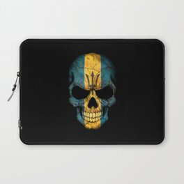 Dark Skull with Flag of Barbados Laptop Sleeve