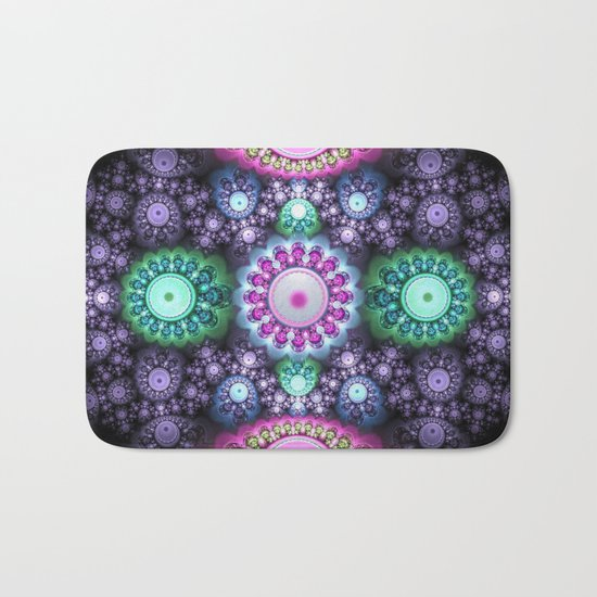 Decorative round patterns, fractal abstract Bath Mat