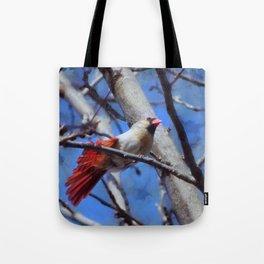 Female Cardinal Flirting Tote Bag