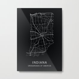 Indiana State Road Map Metal Print