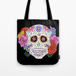 Sugar Skull with Flowers on Black Tote Bag