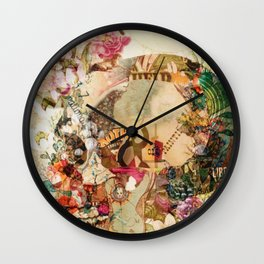 Art Vintage Sugar Skull Flowers Wall Clock