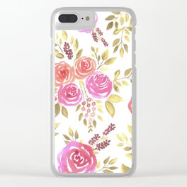 Watercolor pink and red roses with berries Clear iPhone Case
