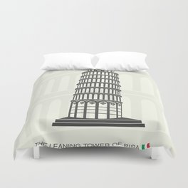 figure leaning tower of Pisa in Italy Duvet Cover