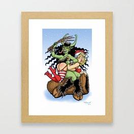 Krampus Spanking Framed Art Print