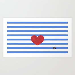 Red Heart and Blue Stripes Art Print