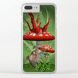 Fairy Mushrooms Clear iPhone Case